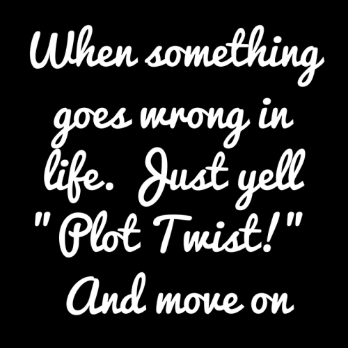 When something goes wrong in life. Just yell Plot Twist! And move on